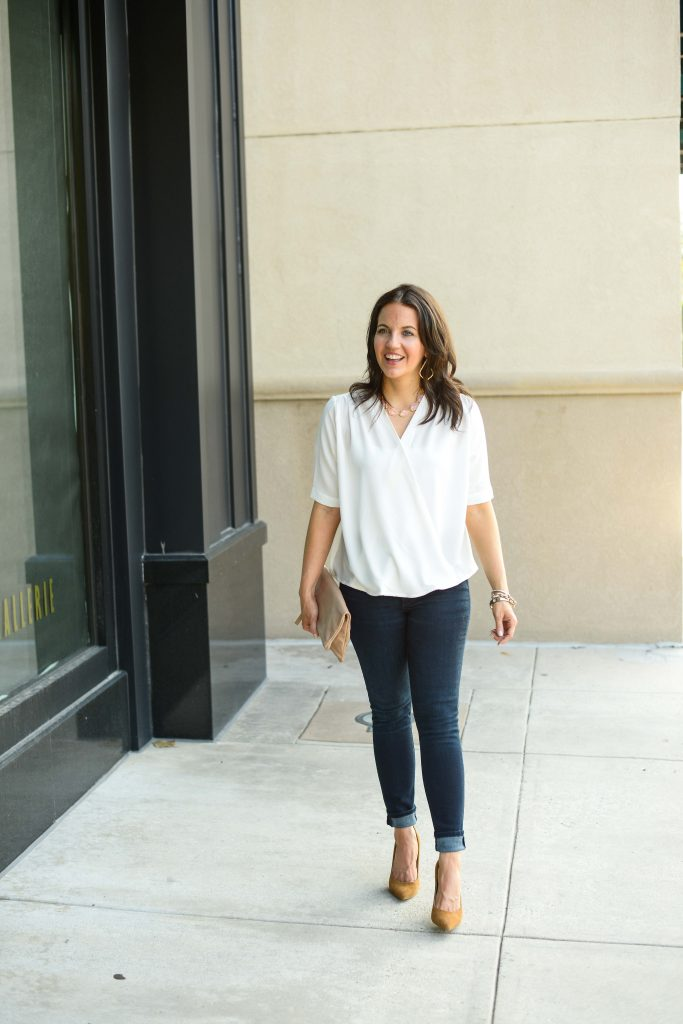 dressy casual outfit | short sleeve white wrap blouse | dark wash high waist denim | Southern Style Blog Lady in Violet