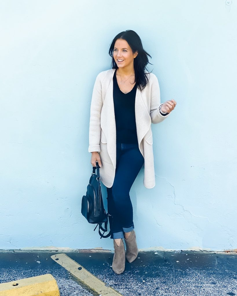 fall outfit | beige draped long cardigan | suede booties | Affordable Fashion Blog Lady in Violet