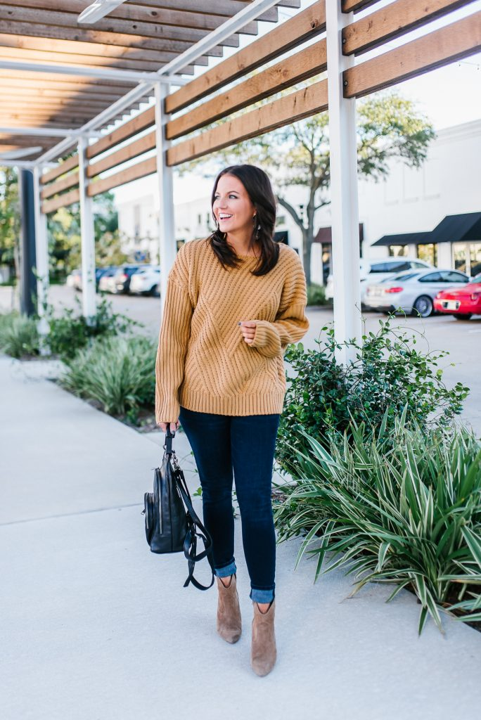 Fall outfit | comfy brown knit sweater | dark wash blue skinny jeans | Affordable Fashion Blog Lady in Violet