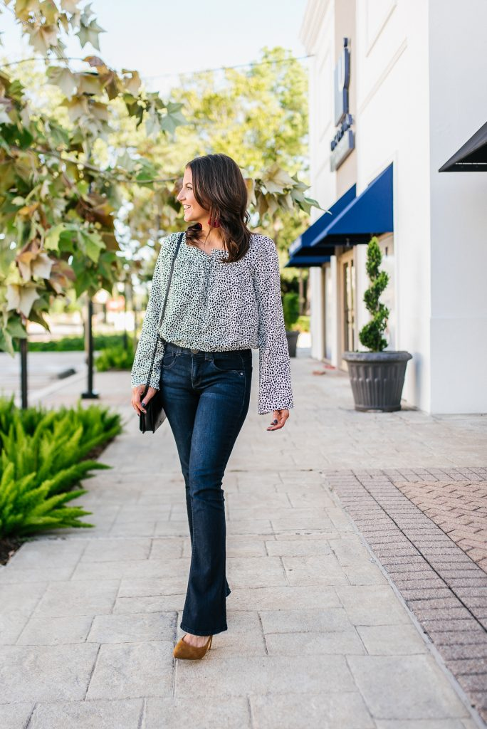 fall outfit | polka dot bell sleeve top | dark wash flared jeans | Affordable Fashion Blog Lady in Violet