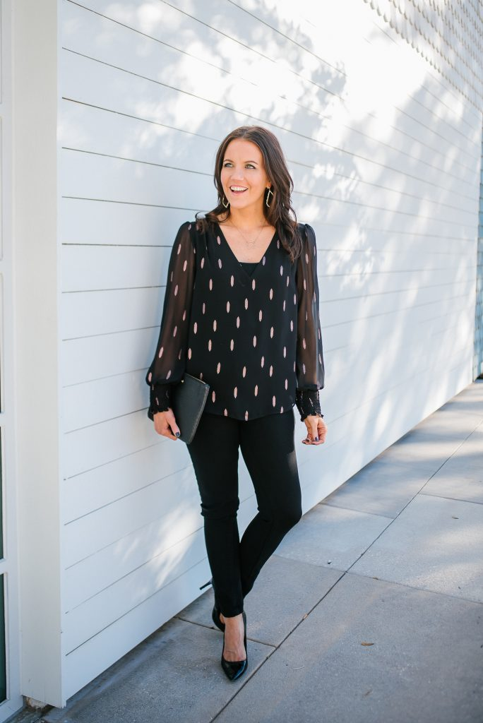 holiday outfit | metallic detail top | black skinny jeans | Affordable Fashion Blog Lady in Violet