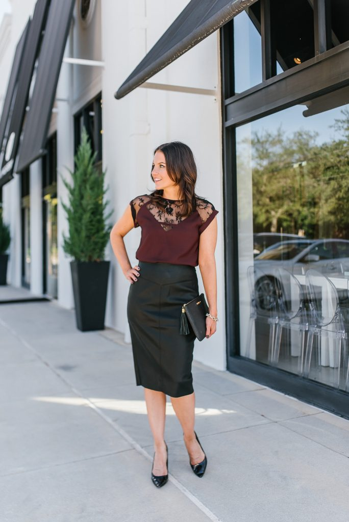 office holiday party outfit | lace top | leather pencil skirt | Affordable Fashion Blog Lady in Violet