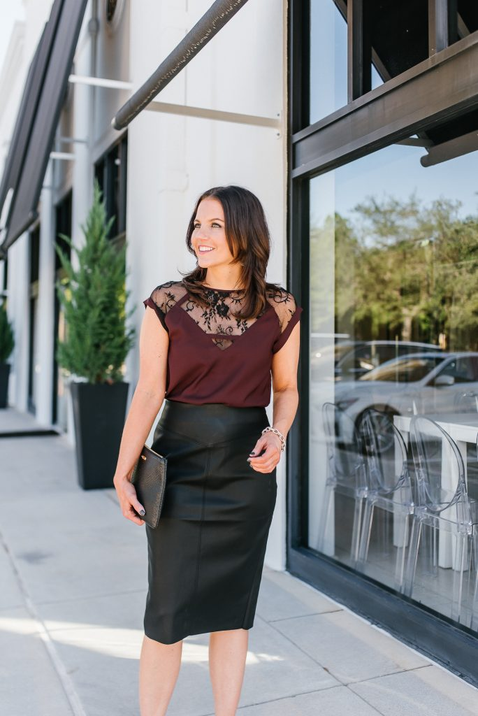 chic christmas party outfit | faux leather pencil skirt | lace burgundy top | Houston Fashion Blogger Lady in Violet