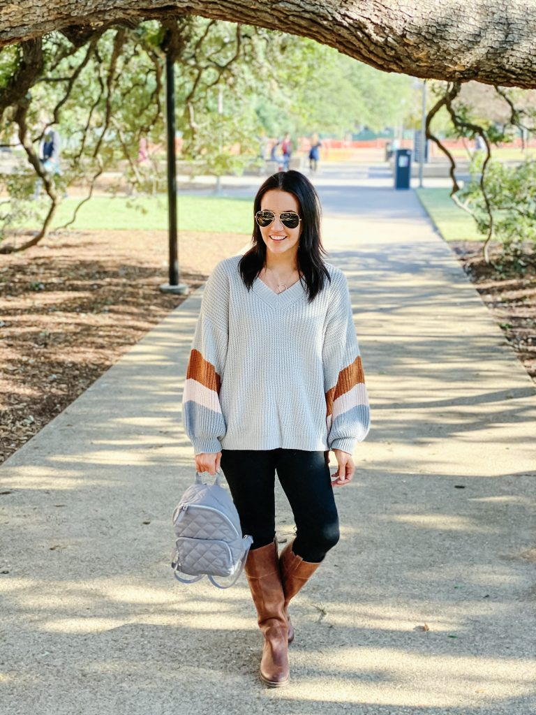 fall outfit | oversized gray sweater | brown tall boots | Everyday Fashion Blog Lady in Violet