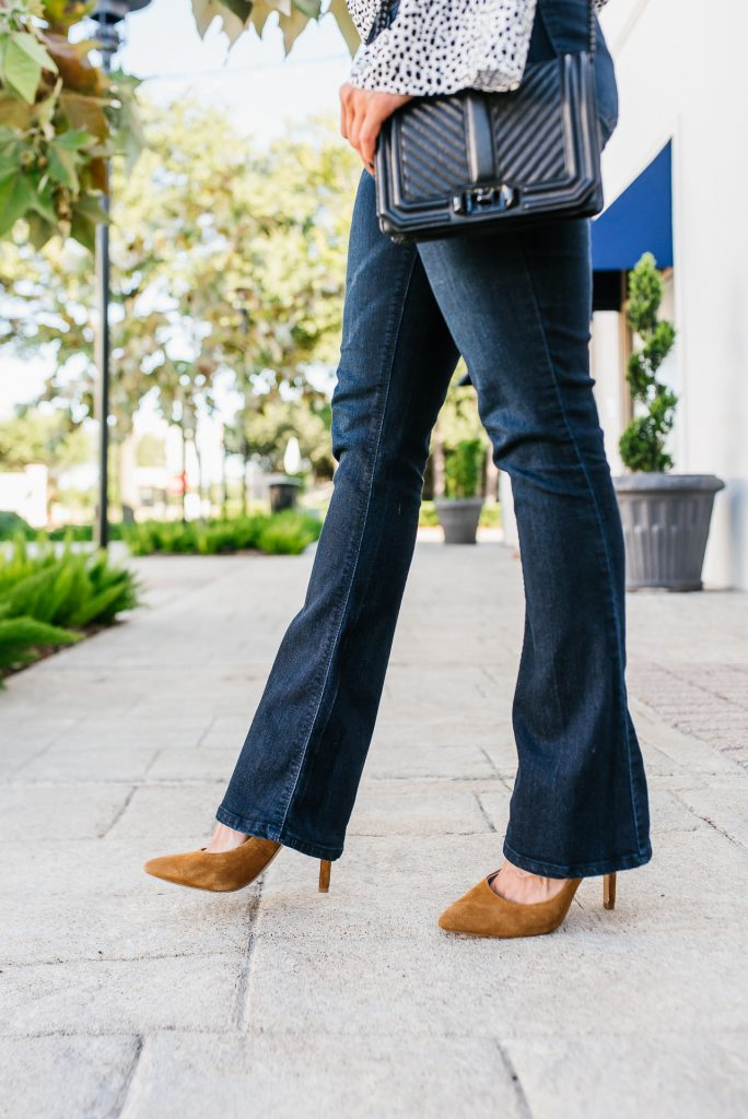 casual fall outfit | dark blue bootcut jeans | tan suede heels | Texas Fashion Blog Lady in Violet