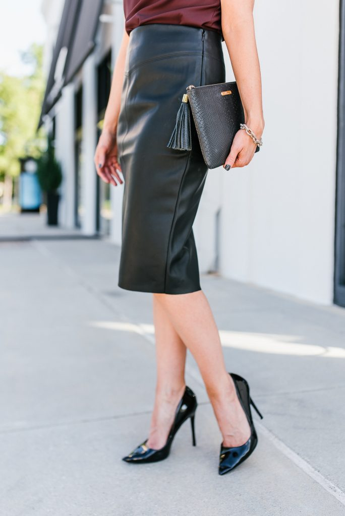 cocktail party outfit | affordable faux leather pencil | black patent heels skirt | Popular Fashion Blog Lady in Violet