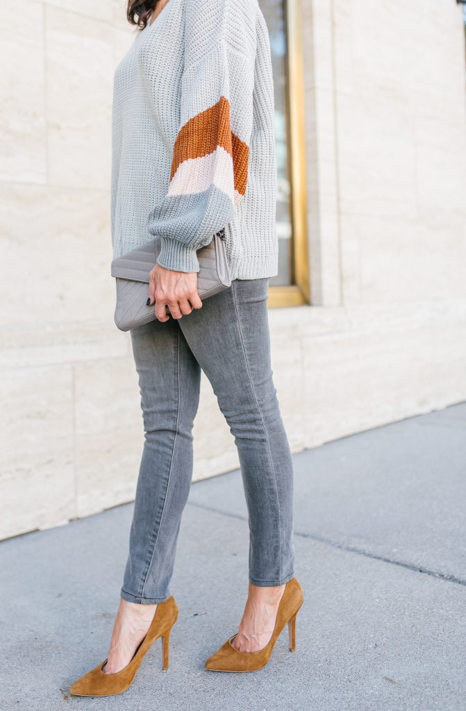 winter outfit | gray skinny jeans | brown suede heels | Petite Fashion Blog Lady in Violet