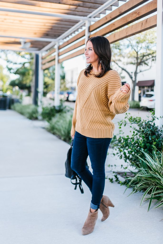 casual cold weather outfit | light brown oversized sweater | suede western booties | Texas Fashion Blogger Lady in Violet