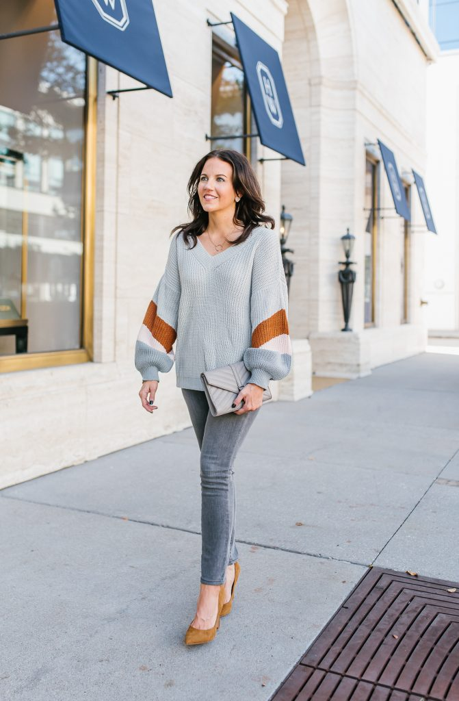 casual winter outfit | gray cozy sweater | brown heels | Texas Fashion Blog Lady in Violet