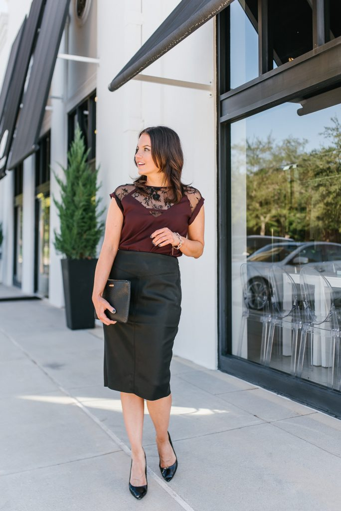 chic date night outfit | maroon blouse | black leather skirt | Petite Fashion Blog Lady in Violet