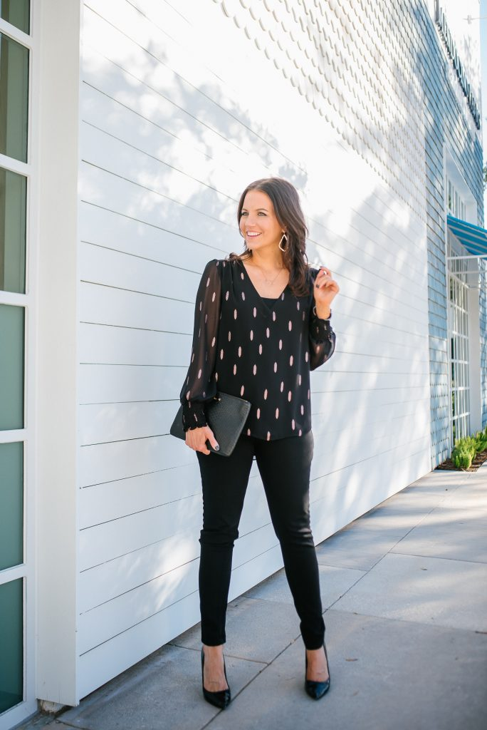 holiday party outfit | metallic blouse | black patent heels | Casual Fashion Blog Lady in Violet