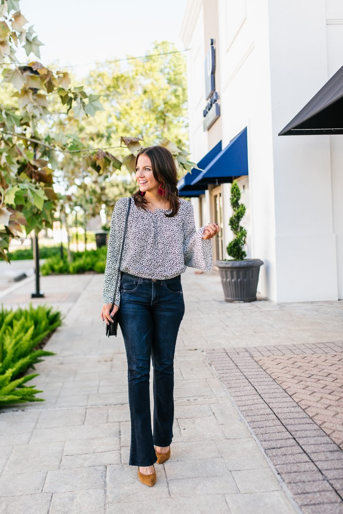 70s inspired outfit   bell sleeve blouse   bootcut flare jeans   Southern Style Blog Lady in Violet