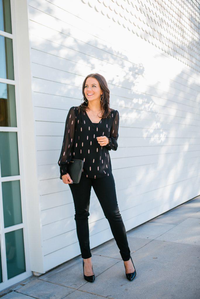 NYE outfit | black metallic sheer sleeve top | black denim | Favorite Fashion Blog Lady in Violet