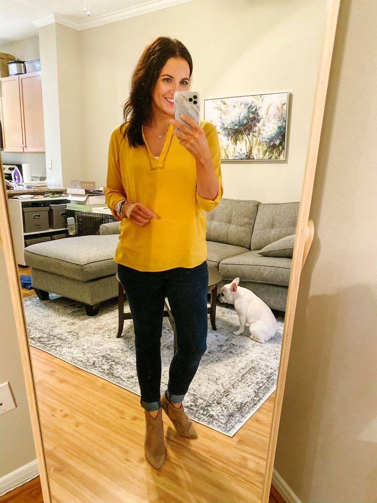 casual fall outfit | yellow top | brown booties | Budget Friendly Fashion Blog Lady in Violet