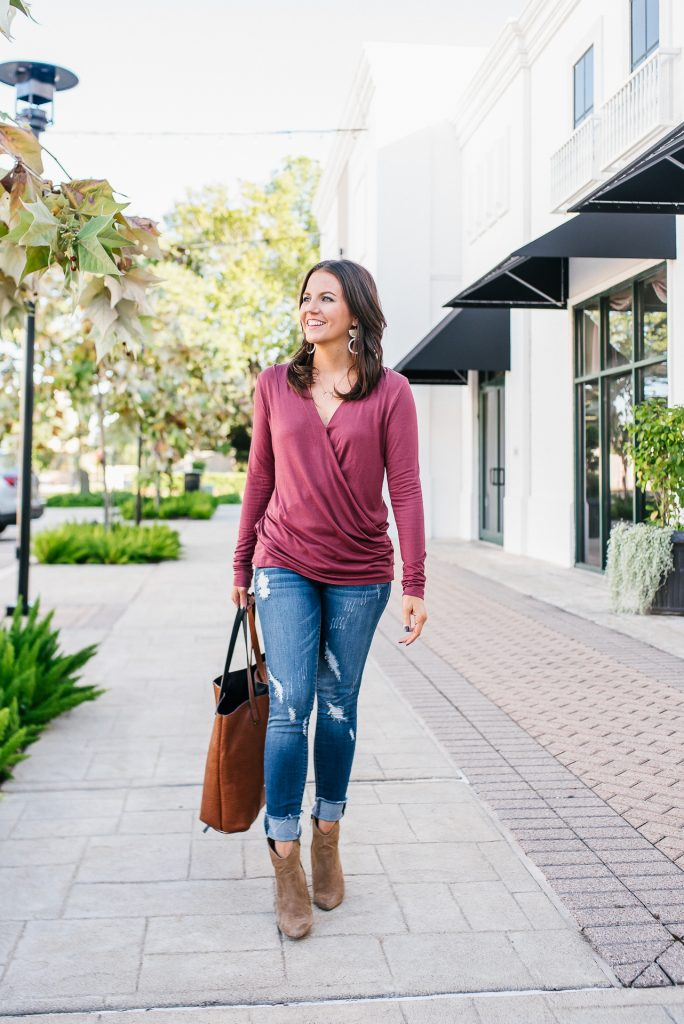 casual weekend outfit | dark pink long sleeve top | distressed denim | Everyday Fashion Blog Lady in Violet