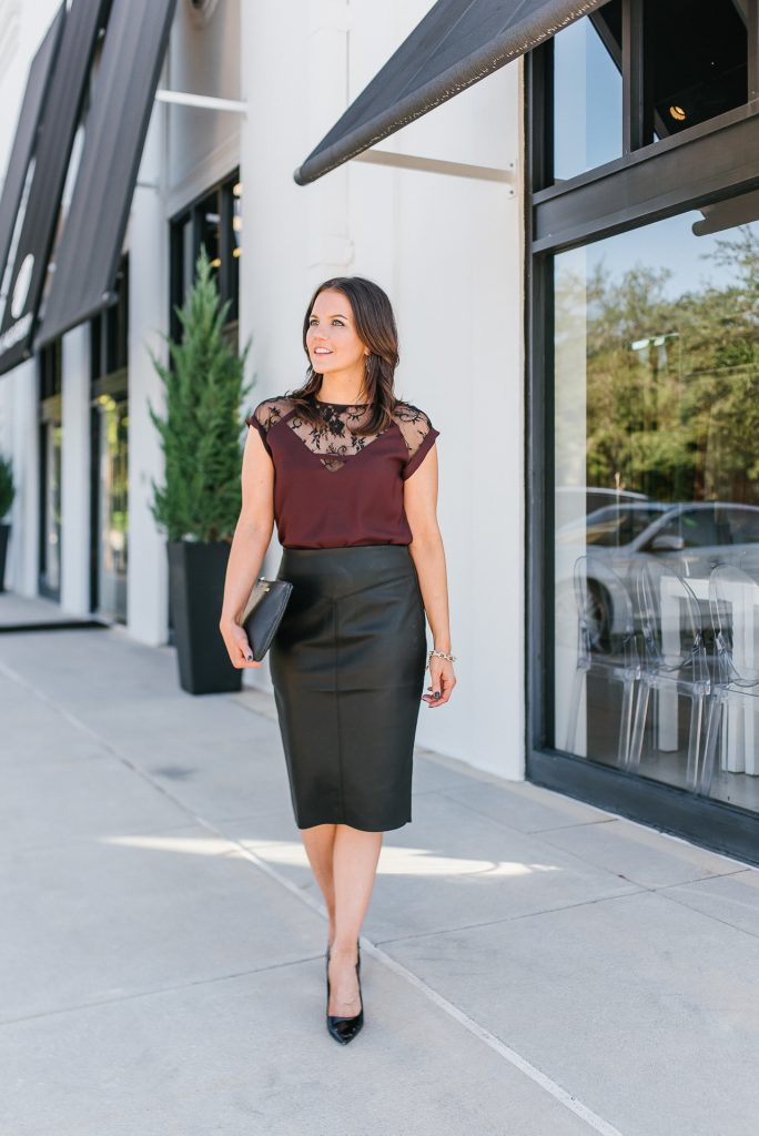 office christmas party outfit | lace blouse | leather skirt under 50 | Texas Fashion Blog Lady in Violet