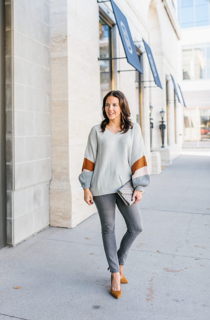 winter outfit | light gray sweater | grey skinny jeans | Southern Style Blog Lady in Violet