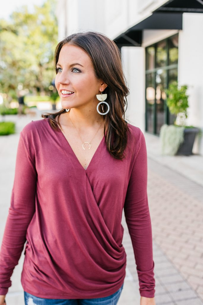 casual fall outfit | dark pink vneck top | bourbon and bowties earrings | Texas Fashion Blog Lady in Violet
