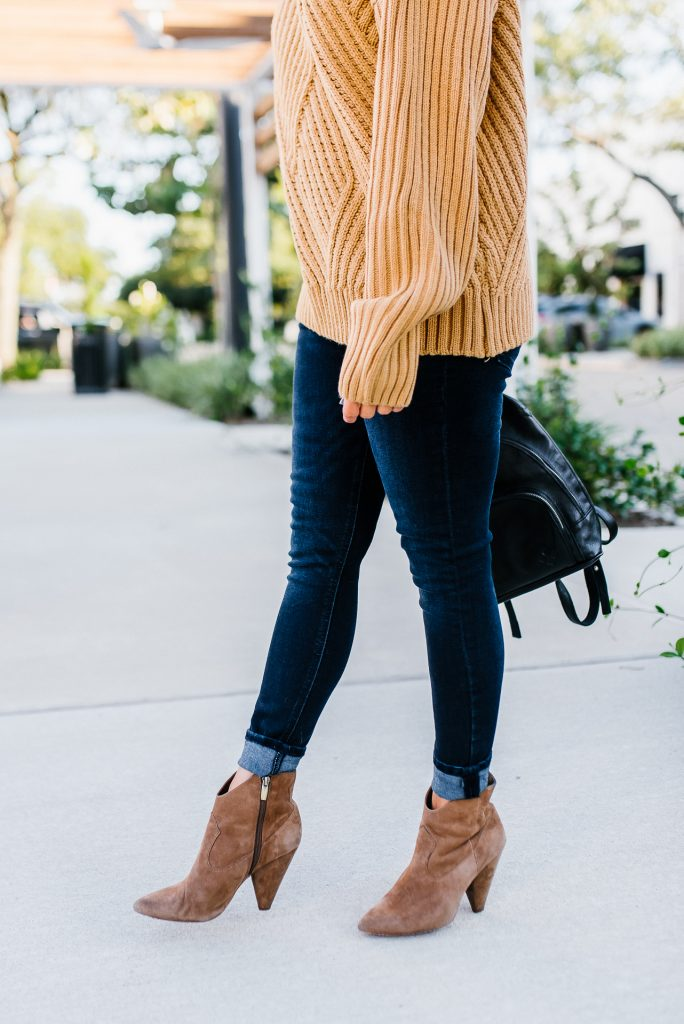casual winter outfit | dark blue cuffed skinny jeans | brown suede booties | Southern Style Blog Lady in Violet