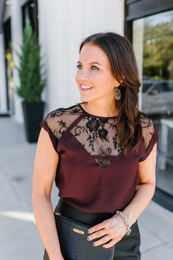 cocktail party outfit | lace burgundy top | black stone earrings | Everyday Fashion Blog Lady in Violet