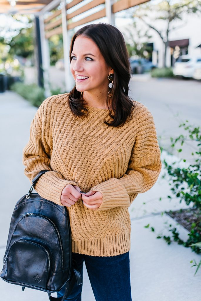 casual weekend outfit | light brown sweater | black leather backpack purse | Petite Fashion Blog Lady in Violet