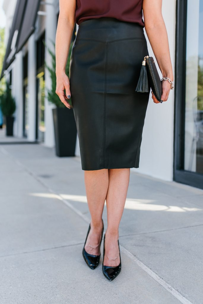 date night outfit | black leather pencil skirt | patent heels | Southern Style Blog Lady in Violet