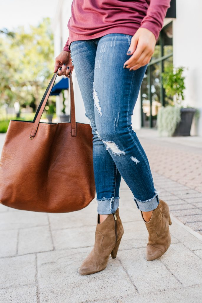 fall outfit | distressed jeans | brown booties | Southern Style Blog Lady in Violet