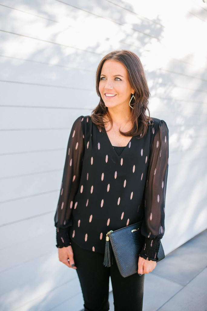 new years eve outfit | metallic details top | black clutch purse | Texas Fashion Blog Lady in Violet