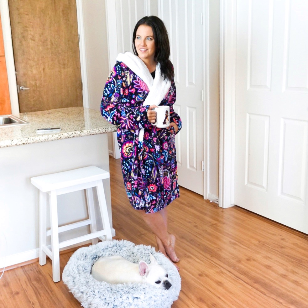 soft plush robe loungewear by Vera Bradley | Everyday Fashion Blog Lady in Violet