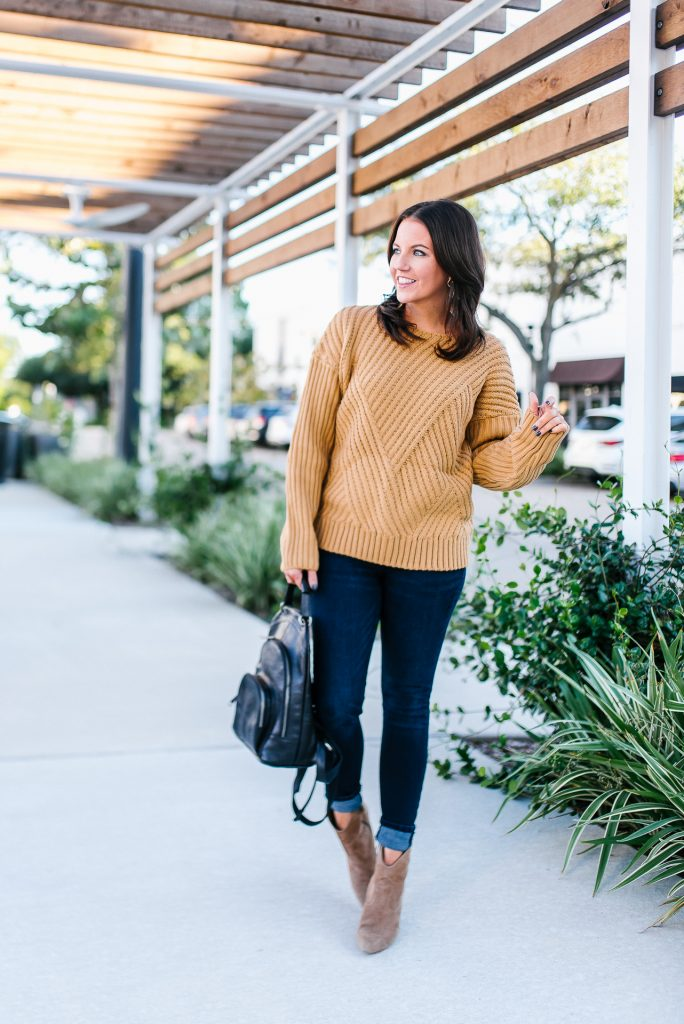 comfy fall outfit | tan brown sweater | high waist skinny jeans | Popular Fashion Blog Lady in Violet