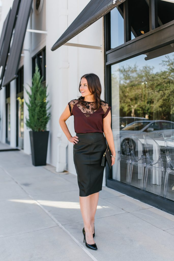 office holiday party outfits | faux leather skirt | lace top | Everyday Fashion Blog Lady in Violet