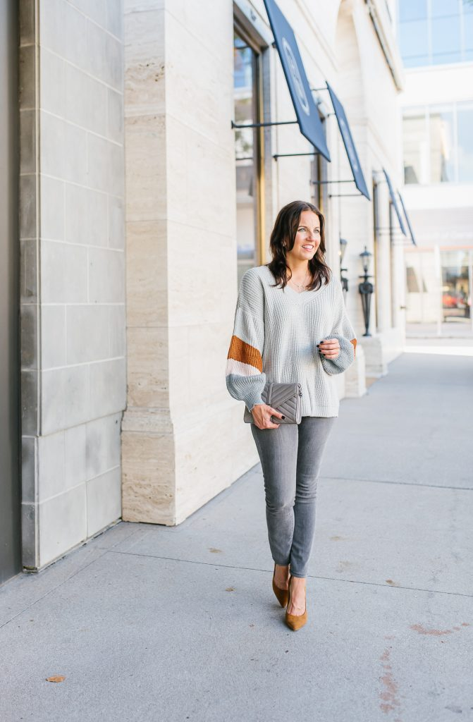 winter outfit | light gray sweater with gray denim | Popular Fashion Blog lady in Violet