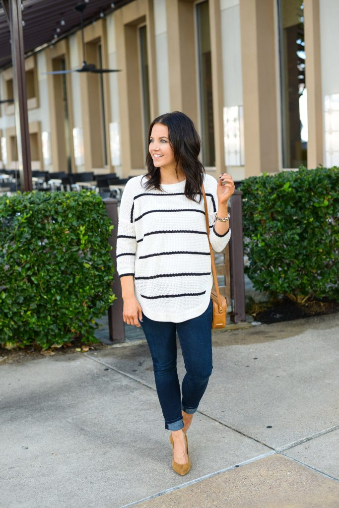 casual outfit | striped tunic sweater | brown heels | Affordable Fashion Blogger Lady in Violet