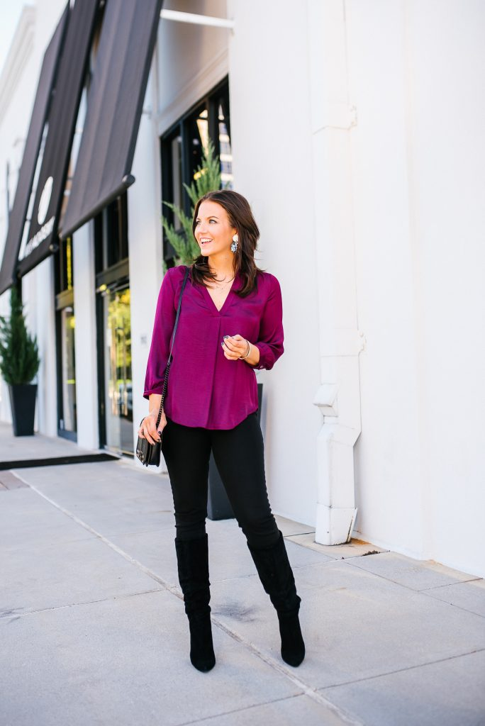 fall outfit | dark pink blouse | black suede boots | Affordable Fashion Blog Lady in Violet