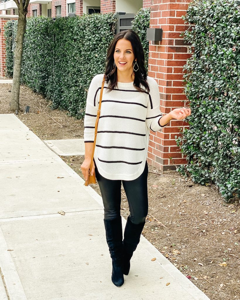 holiday outfit | striped tunic sweater | faux leather leggings | Affordable Fashion Blog Lady in Violet
