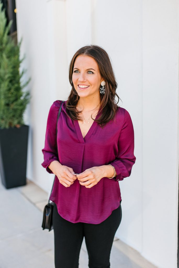 jewel tones for the holiday outfit | dark pink silk blouse | Petite Fashion Blog Lady in Violet