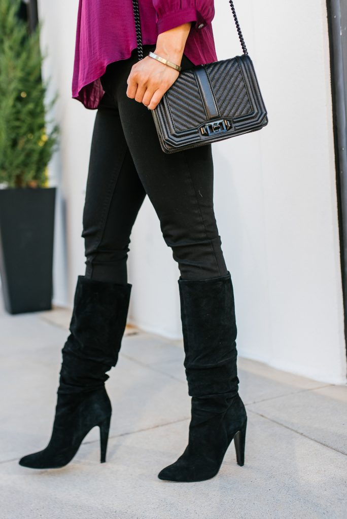 fall outfit | black slouchy boots | black leather crossbody bag | Everyday Fashion Blog Lady in Violet