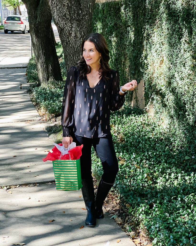 holiday party outfit | gold and black metallic top | tall boots | Houston Fashion Blog Lady in Violet