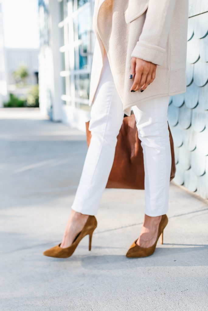 how to wear winter white outfit | tan suede heels | Petite Fashion Blog Lady in Violet