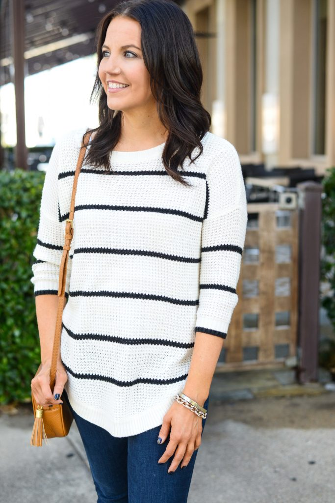 casual style | black white striped sweater | gold bracelets | Houston Fashion Blogger Lady in Violet