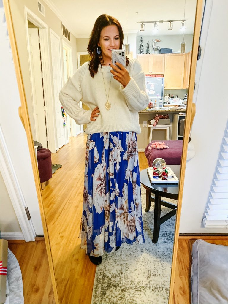 winter work outfit | ivory sweater | blue floral maxi skirt | Everyday Fashion Blog Lady in Violet
