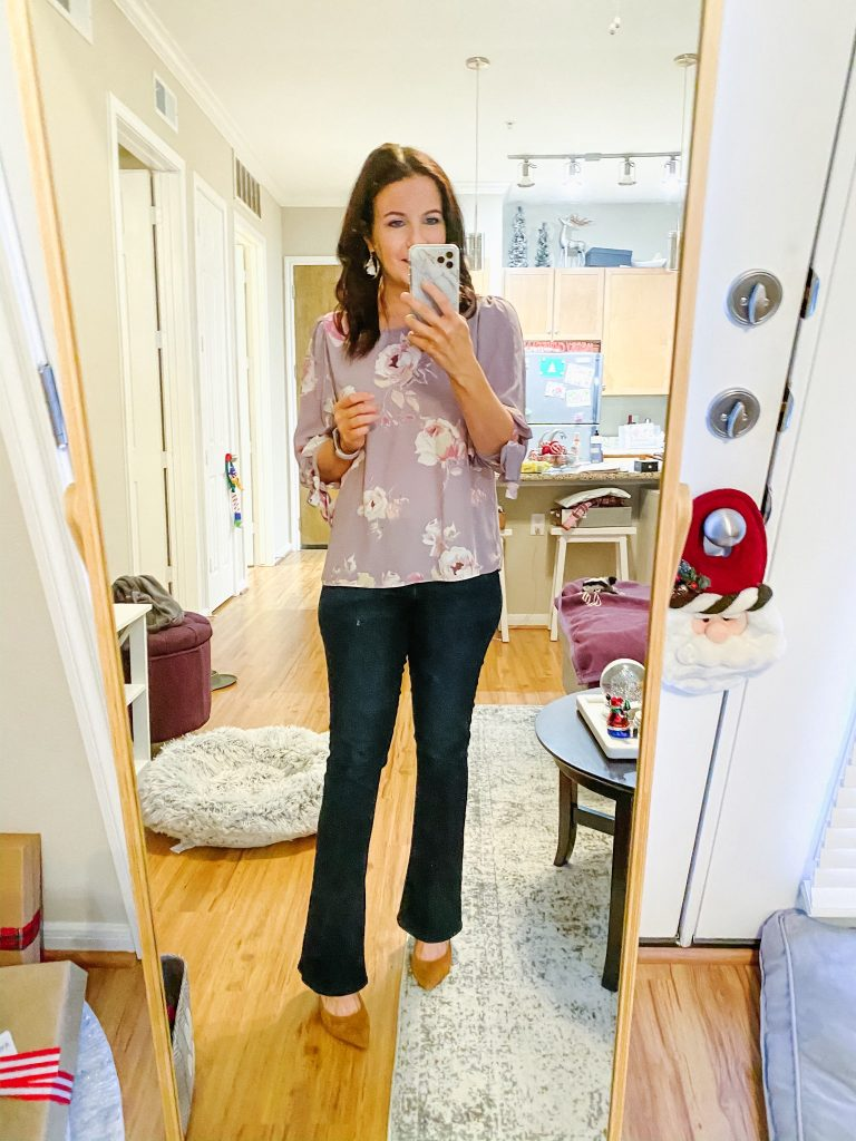 business casual outfit | pastel floral blouse | flared bootcut jeans | Texas Fashion Blog Lady in Violet