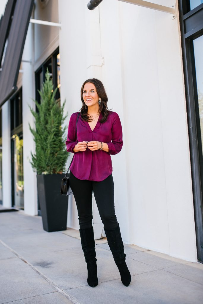 fall outfit | jewel tone silk top | black denim | Popular Fashion Blogs Lady in Violet