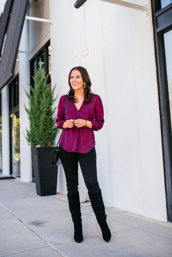 fall outfit | jewel tone silk top | black denim | Popular Fashion Blogs Lady in Violet