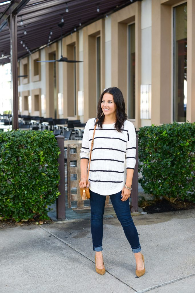 casual weekend outfit | 3/4 sleeve sweater | tan suede heels | Texas Fashion Blog Lady in Violet
