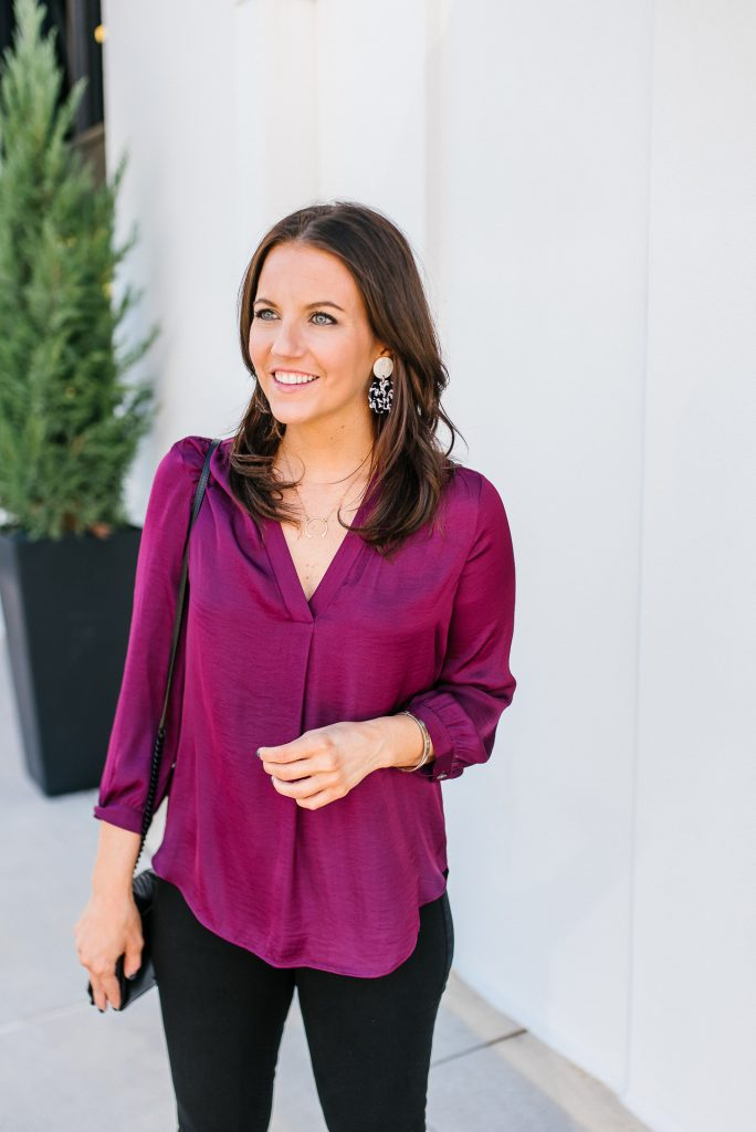 fall fashion | magenta top | marble statement earrings | Texas Fashion Blogger Lady in Violet