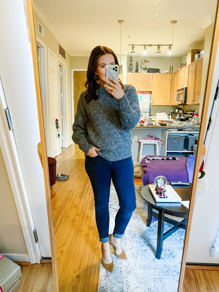 winter outfit | dark gray sweater | brown suede heels | Southern Style Blog Lady in Violet
