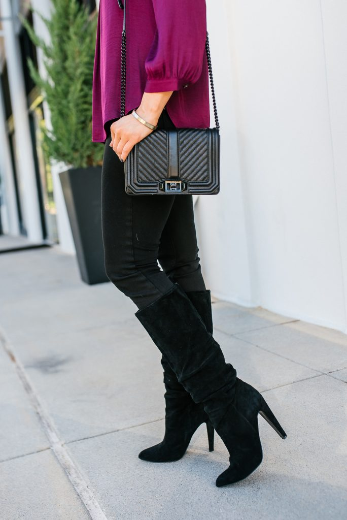 winter outfit | black skinny jeans | slouchy suede boots | Stylish Fashion Blog Lady in Violet