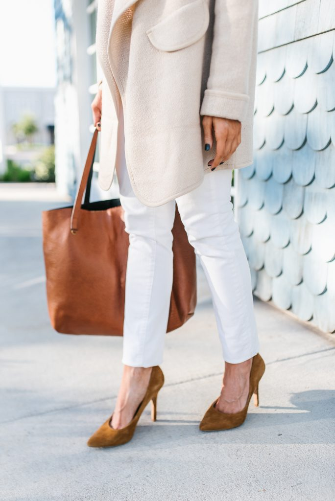 winter outfit | white skinny jeans | brown suede heels | Budget Friendly Fashion Blog