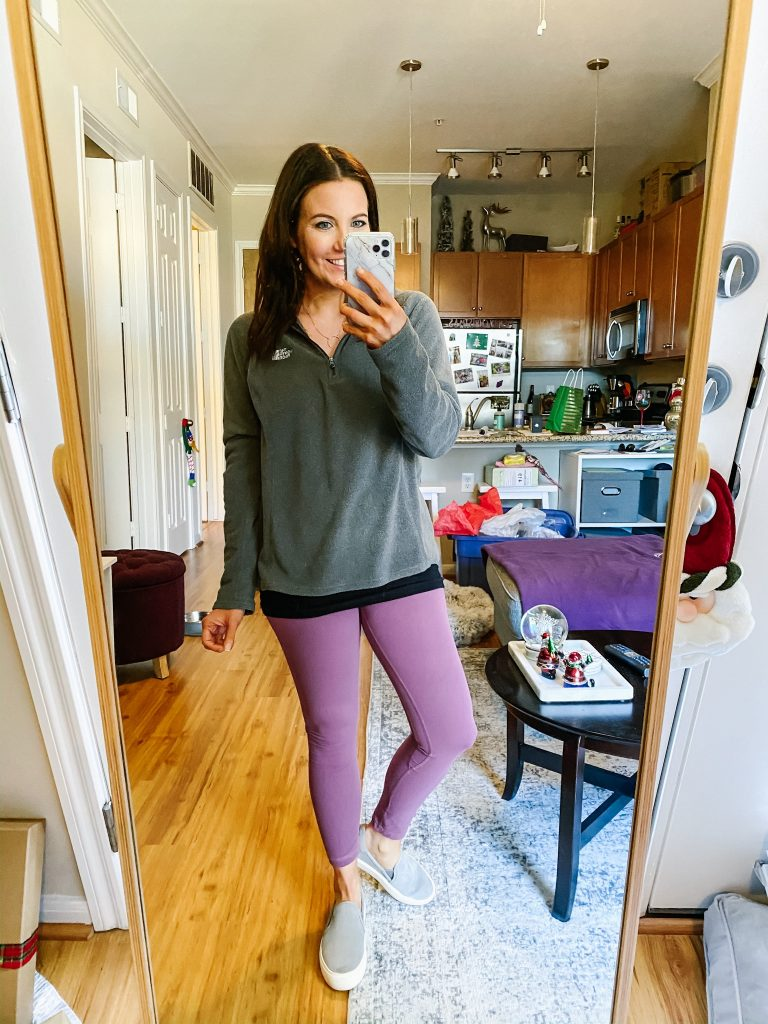 comfy travel outfit | pink leggings | gray fleece pullover | Popular Fashion Blog Lady in Violet